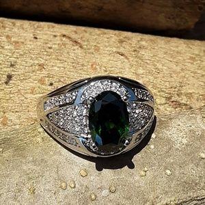 Other - Mens  Emerald Diamond cz Silvertone Ring 13,3/$30